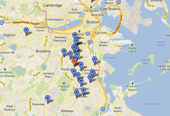 Map of Shootings in Boston Since Boston Marathon Shows Concentration in Roxbury, Dorchester and South End