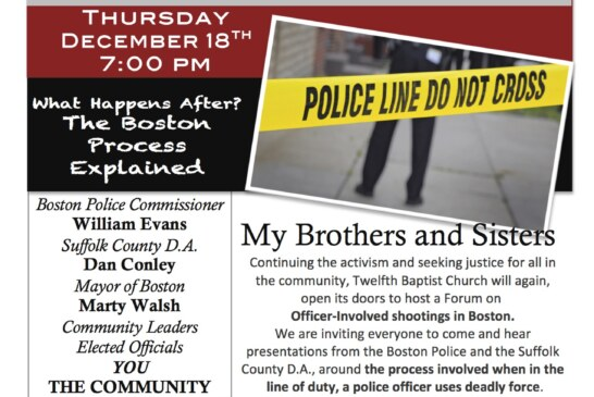 Forum On Officer Involved Shootings @12th Baptist Thurs. Dec. 18