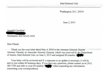 DOJ 1st Response To Request To Investigate & Reform BPD