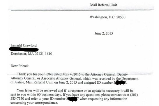 DOJ 1st Response To Request To Investigate & Reform BPD